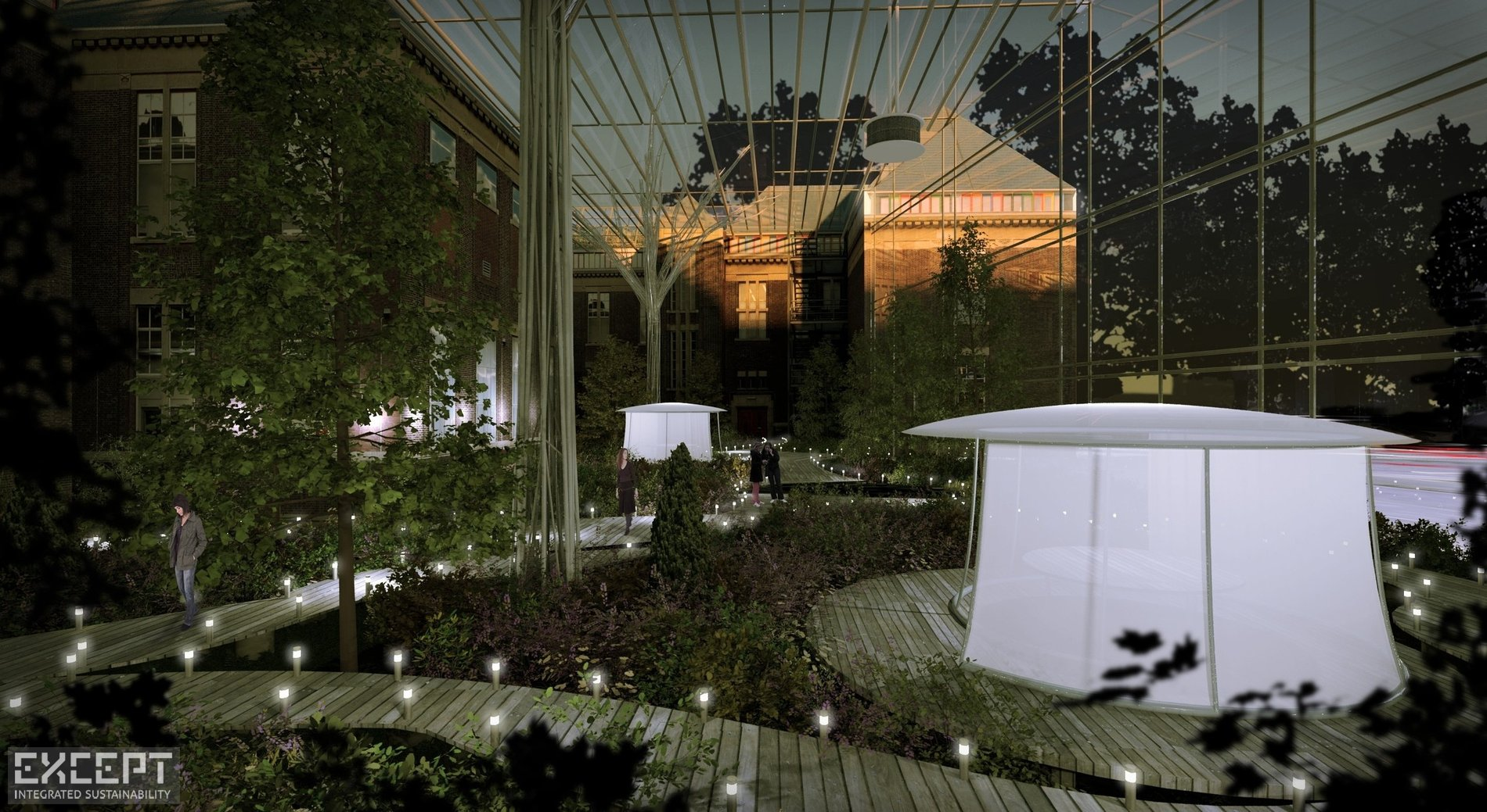 Atrium night - At night the pods are warm bright places in the garden.