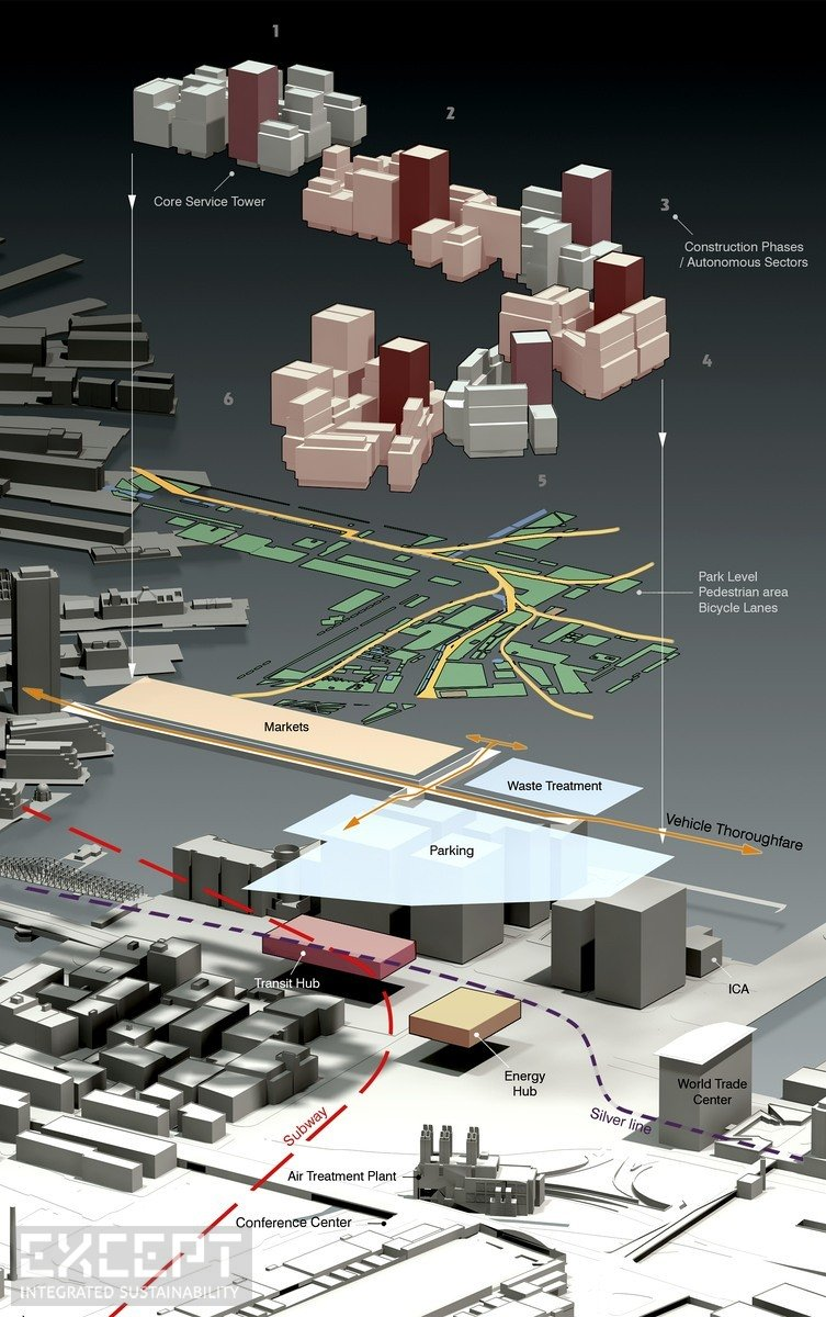 Boston Block Urban Diagram - The block isometric diagram of the urban design