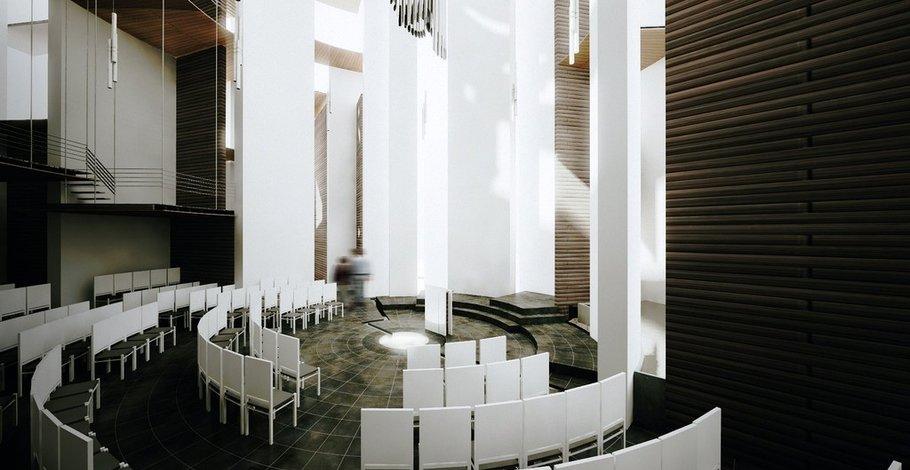 The central chapel's space brings a reverential experience to visitors.