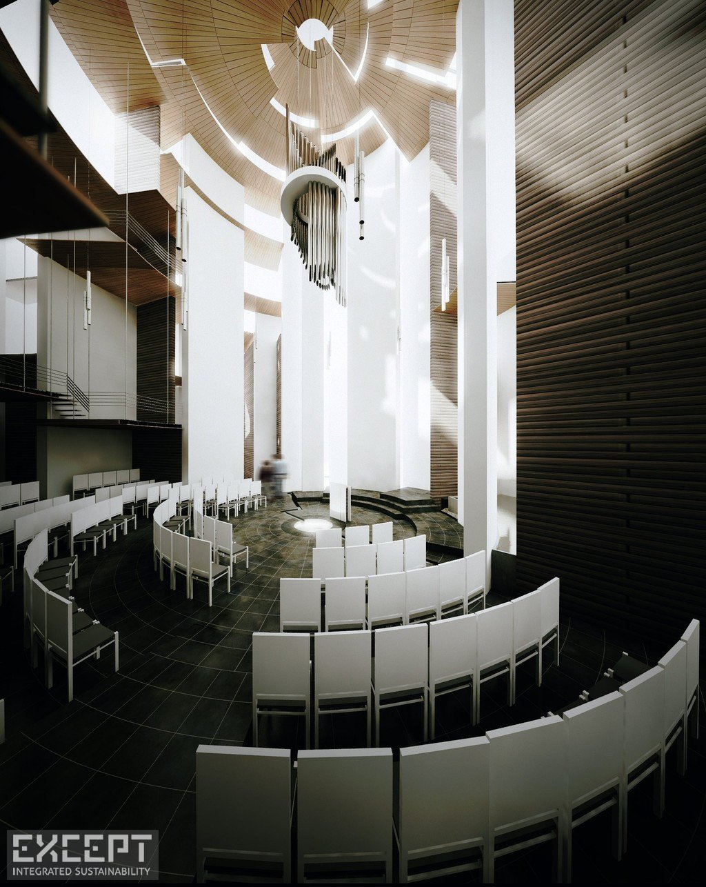 Chapel Interior - The central chapel's space brings a reverential experience to visitors.