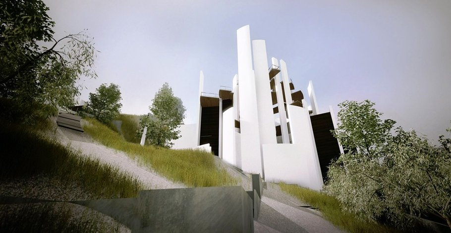 The chapel prevents erosion through the smart placement of retaining walls.