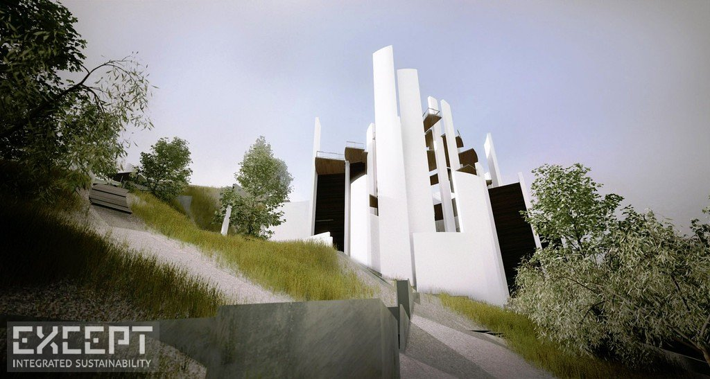 Exterior Summer - The chapel prevents erosion through the smart placement of retaining walls.