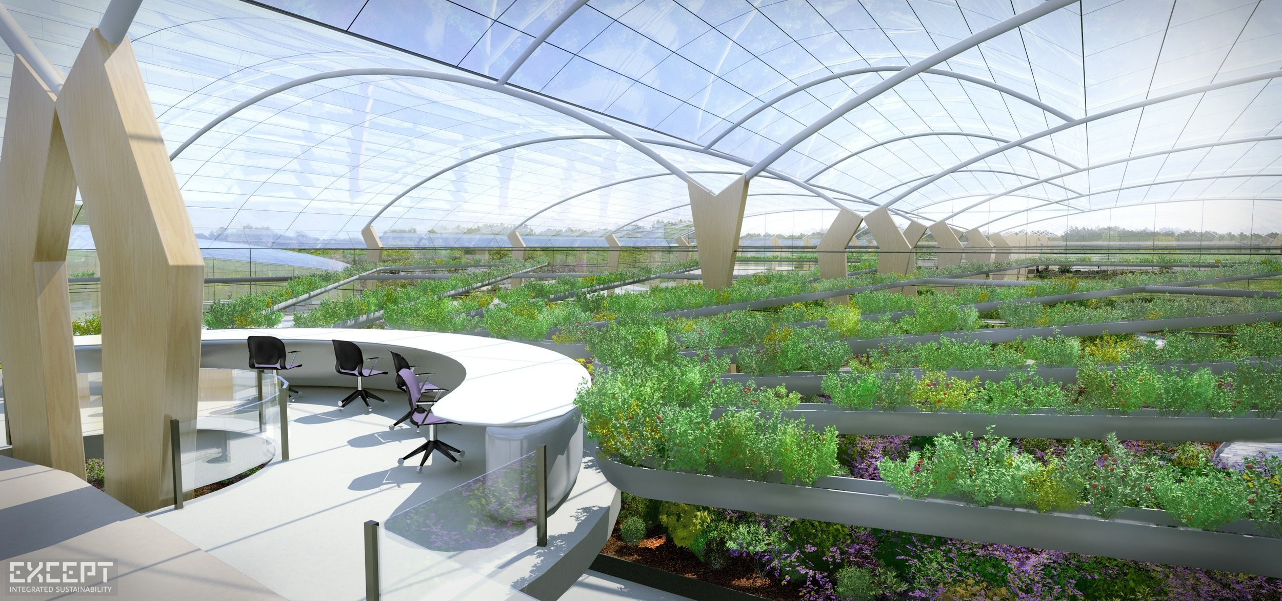 Polydome Inside Desk - A vision of a high production Polydome with central plant handling.