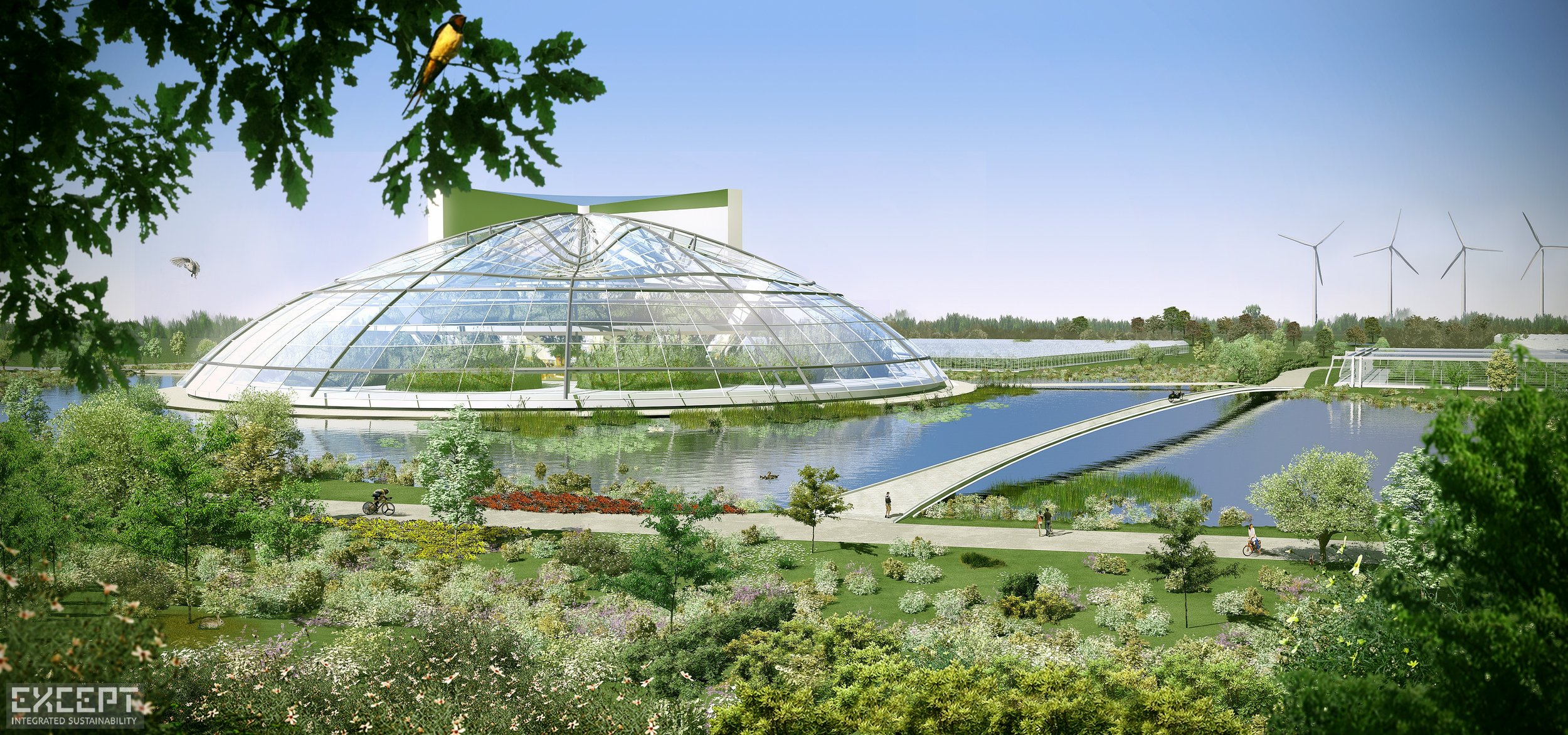 Greenhouse Modern Pavilion  - Greenhouse Landscape Water Bike Path