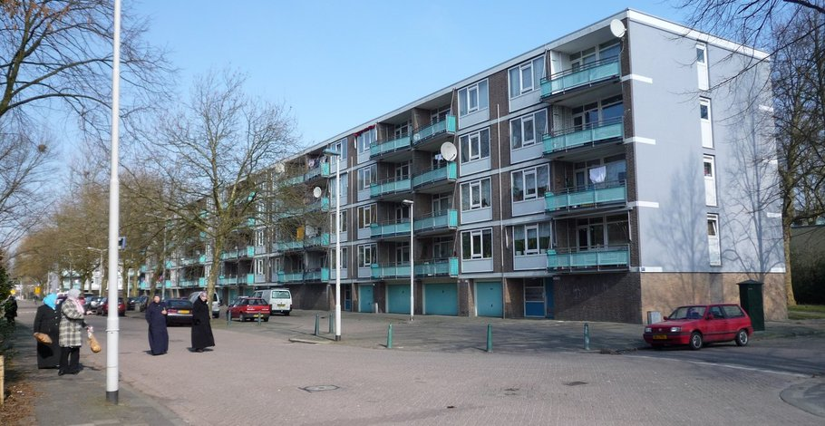 A photo of the state of the apartment buildings before the project
