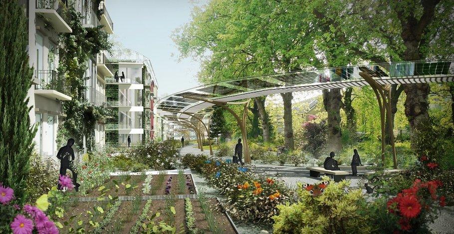 Street view showing converted flats, shared gardens, pedestrian walkways.