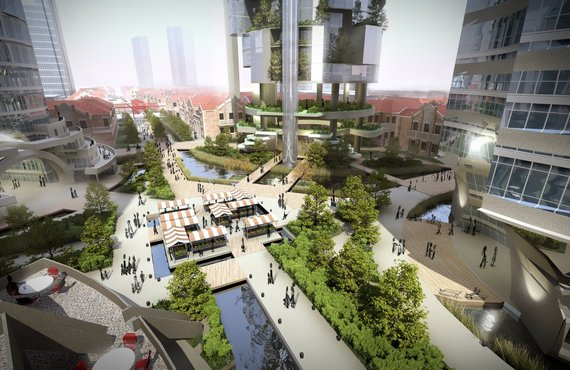 Shanghai Urban Masterplan interweaving residential, commercial, utilities & agriculture.