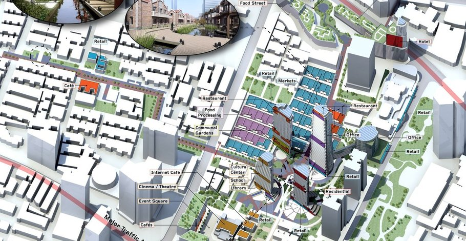 Isometric urban diagram: towers in relation to channels and lilong areas.