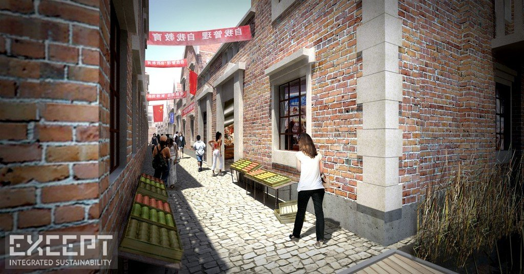 Shanghai Markets - Some converted lilong buildings serve as indoor markets and food processing areas.