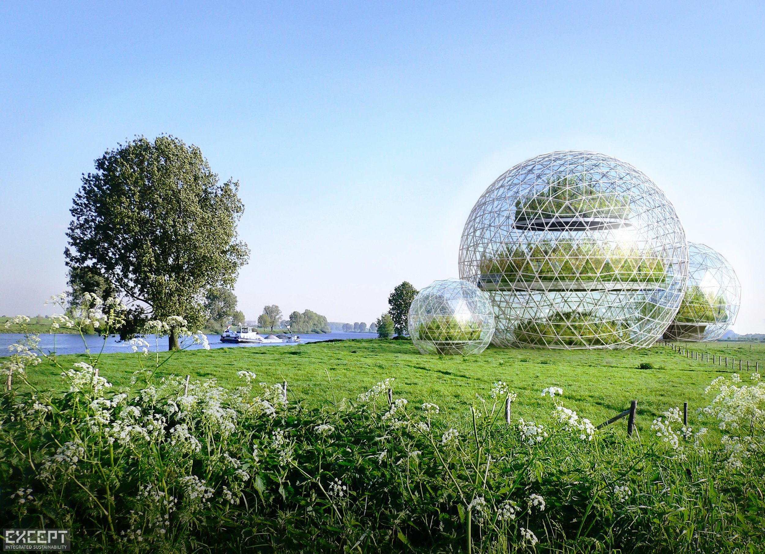Sphere Greenhouses - Greenhouse Landscape Water Bike Path